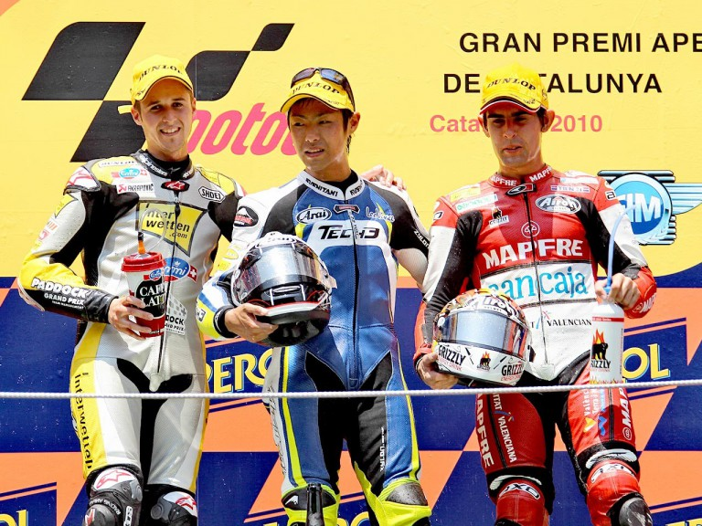 Luthi, Takahashi and Simon on the podium at the Catalunya Circuit