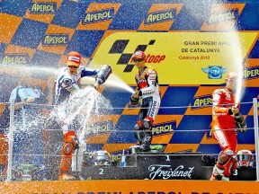 Lorenzo, Pedrosa and Stoner on the podium at the Catalunya Circuit