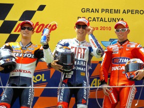 Pedrosa. Lorenzo and Stoner on the podium at the Catalunya Circuit