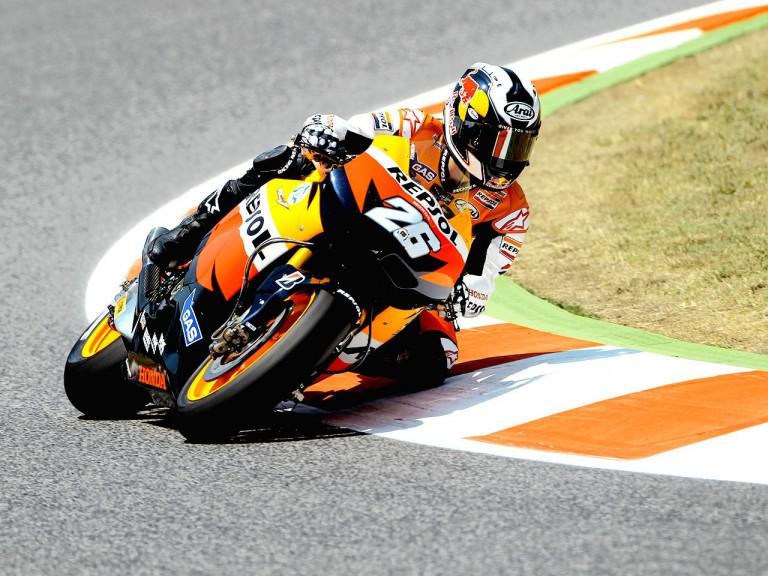 Dani Pedrosa in action at the Catalunya Circuit