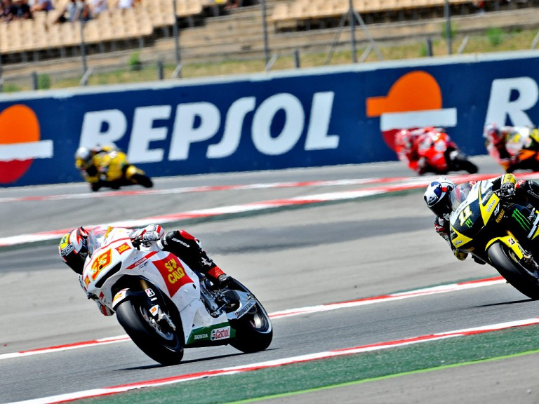 Marco Melandri riding ahead of MotoGP group at the Catalunya CIrcuit