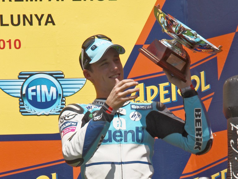 Pol Espargaró on the podium at the Catalunya Circuit