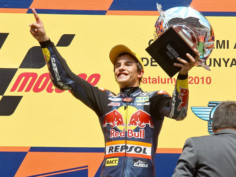 Marc Marquez on the podium at the Catalunya Circuit