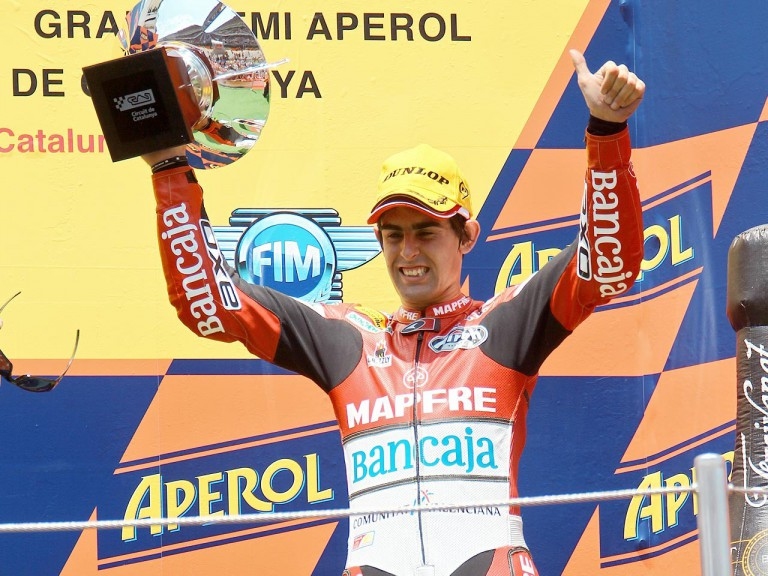 Julián Simón on the podium at the Catalunya Circuit
