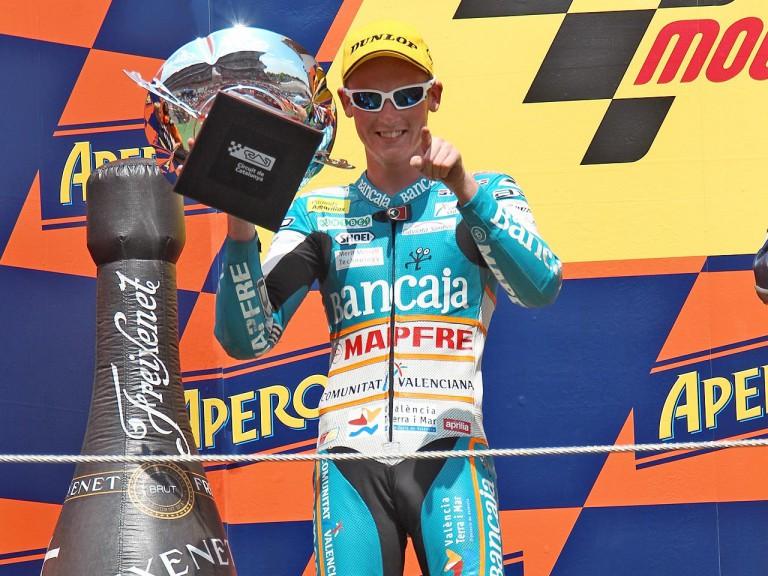 Bradley Smith on the podium at the Catalunya Circuit