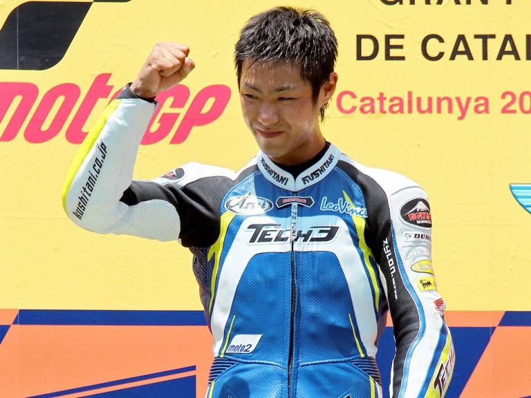Yuki Takahashi on the podium at the Catalunya Circuit