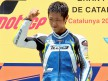 Yuki Takahashi on the podium at the Catalunya Circuit
