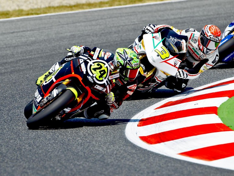 Elias riding ahead of Corsi at the Catalunya Circuit