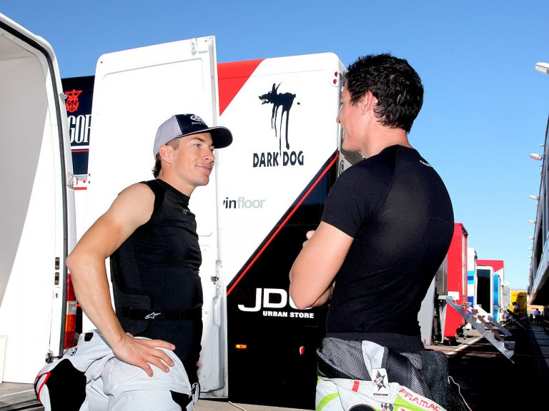 Nicky Hayden and Aleix Espargaró at the Aragon Motorland Test