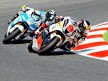 Noyes riding ahead of Canepa at the Catalunya Circuit
