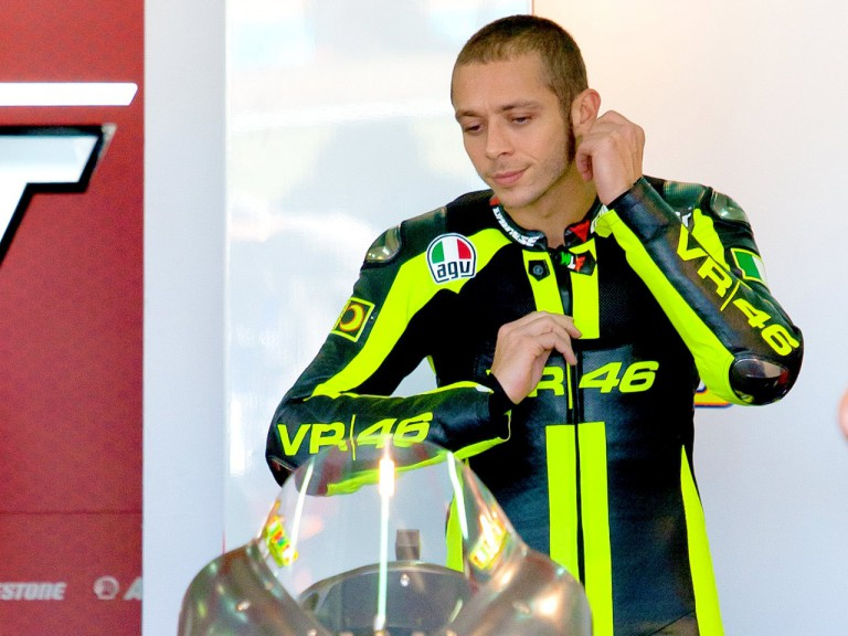 Valentino Rossi in the Ducati garage at Valencia test