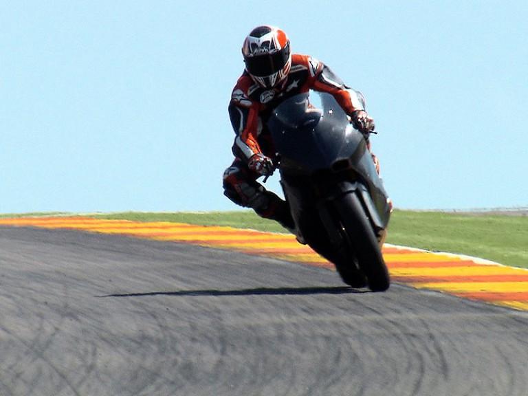 Héctor Barberá testing Moto2 Suter bike at Motorland Aragon
