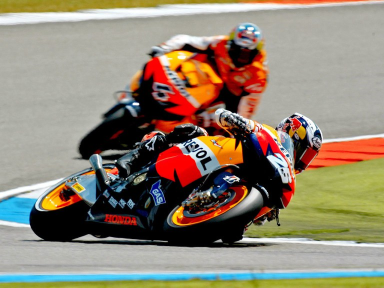 Repsol Honda riders Pedrosa and Dovizioso on track