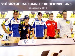 Rossi, Pedrosa, Lorenzo, Stoner and De Angelis at the eni Motorrad GP Deutschland press conference