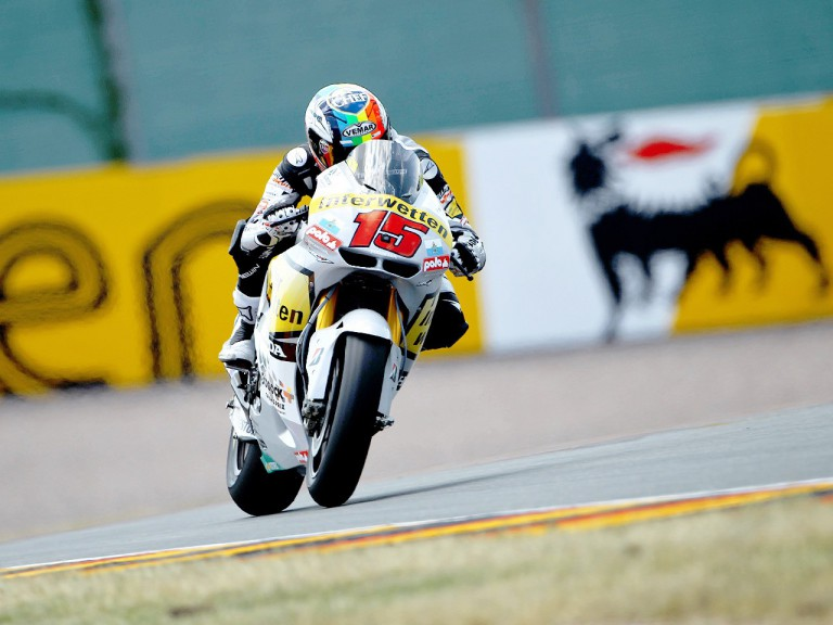 Alex de Angelis in action in Sachsenring