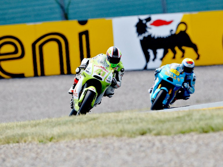 Aleix Espargaró riding ahead of Bautista in Sachsenring