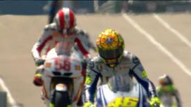O piloto da Repsol Honda foi o mais rápido na primeira sessão de treinos do eni Motorrad Grand Prix Deutschland, à frente dos homens da Ducati, Stoner e Hayden. O líder do Campeonato Lorenzo foi sexto e, no seu regresso às pistas, Rossi ficou em sétimo.