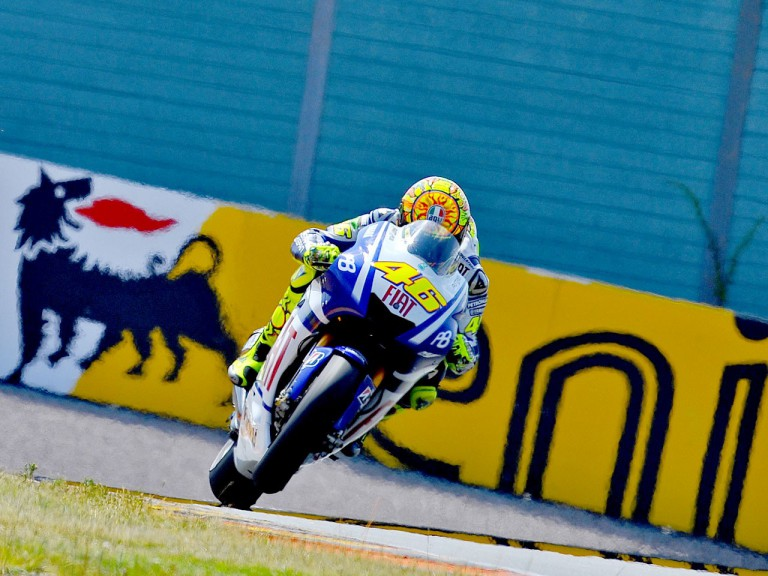 Valentino Rossi in action in Sachsenring