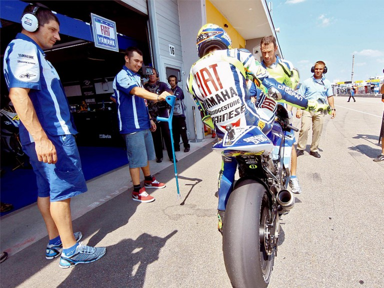 Valentino Rossi at the pit lane in Sachsenring