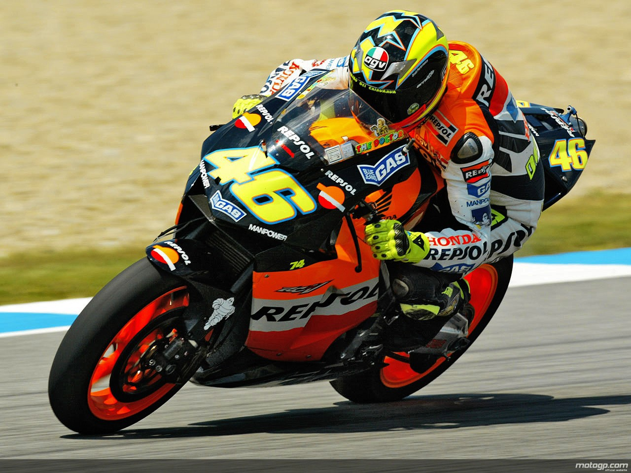 motogp.com · Rossi with the first generation Tail OnBoard camera fitted on his 2003 RC211V
