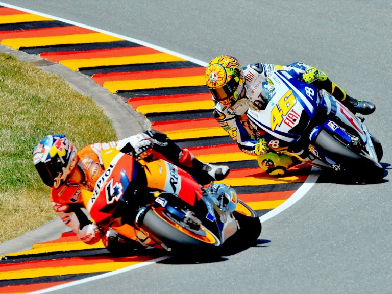Dovizioso riding ahead of Rossi in Sachsenring