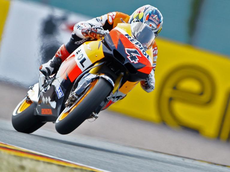 Andrea Dovizioso in action in Sachsenring