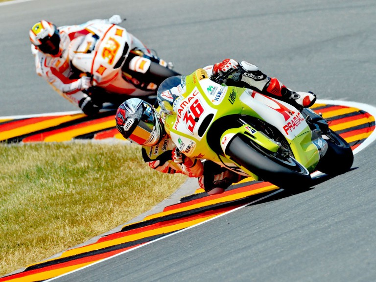 Kallio riding ahead of Melandri in Sachsenring