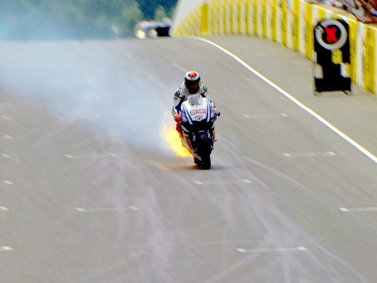Jorge Lorenzo's M1 catches fire during Sachsenring QP