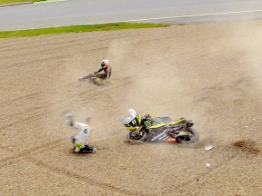 De Puniet and Spies crash during the QP in Sachsenring