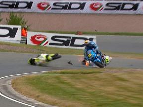 Sachsenring 2010 - MotoGP - Race - Action - De Puniet, Bautista and Espargaró - Crash