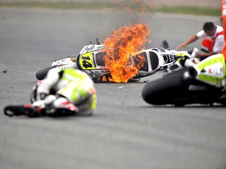 Espargaró, Bautista and De Puniet crash during the race in Sachsenring