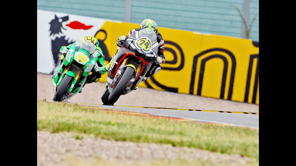 Elias riding ahead of Iannone in Sachsenring