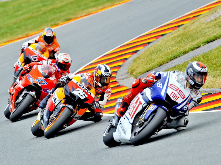 Lorenzo riding ahead of Pedrosa, Stoner and Dovizioso in Sachsenring