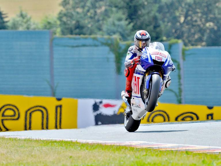 Jorge Lorenzo pulls off a wheelie in Sachsenring