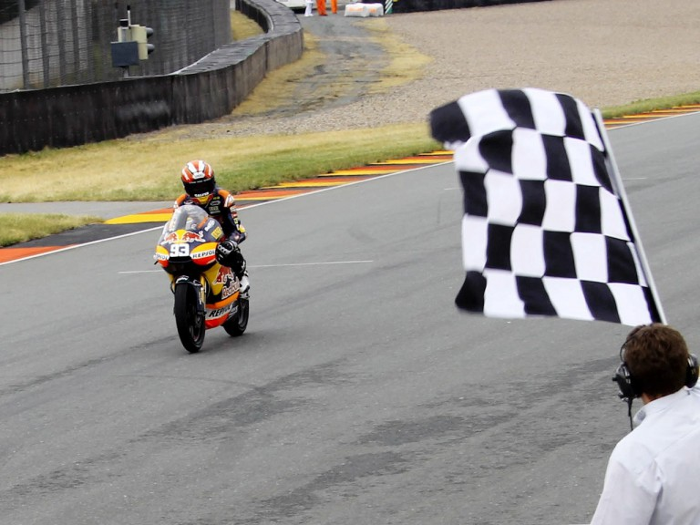Marc Marquez finishing the race in Sachsenring