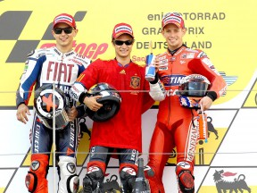 Lorenzo, Pedrosa and Stoner on the podium in Sachsenring