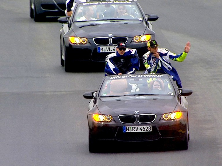 MotoGP riders parade in BMW M Convertibles at Sachsenring