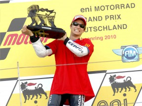 Dani Pedrosa on the podium in Sachsenring