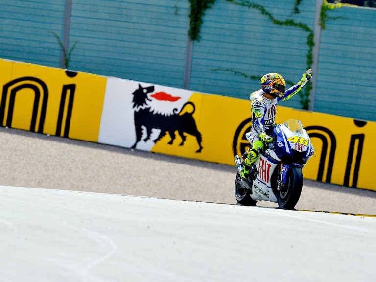 Rossi at the finish of the race in Sachsenring