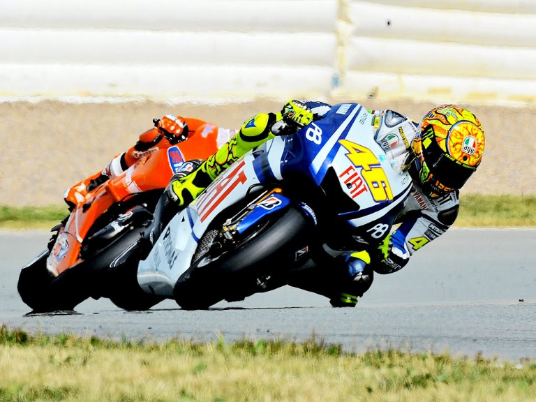 Rossi riding ahead of Stoner in Sachsenring