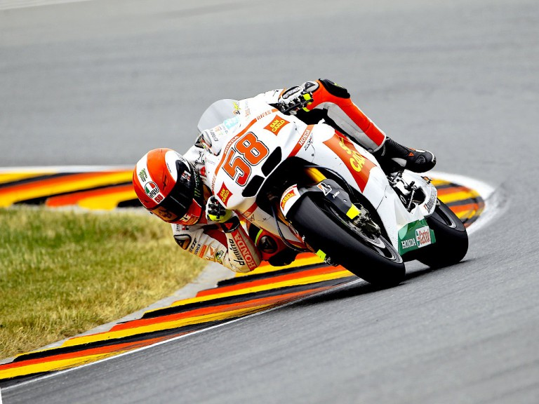 Marco Simoncelli in action in Sachsenring