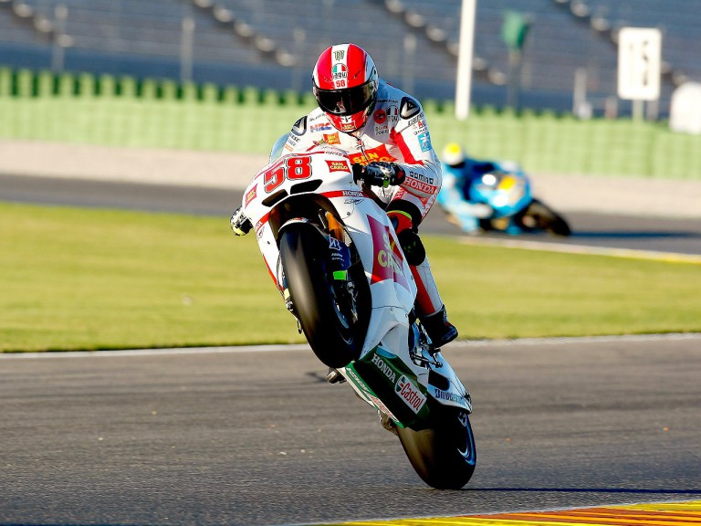 Marco Simoncelli in action at Valencia test