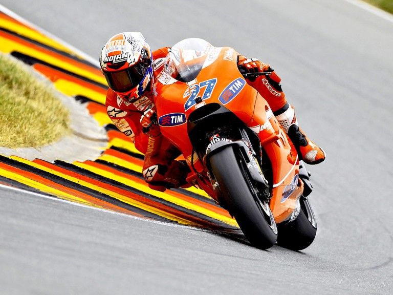 Casey Stoner in action in Sachsenring