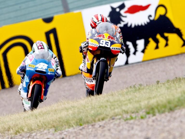 Marquez riding ahead of Espargaró in Sachsenring