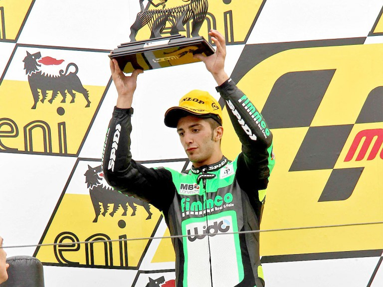 Andrea Iannone on the podium in Sachsenring