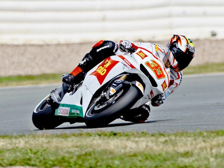 Marco Melandri in action in Sachsenring