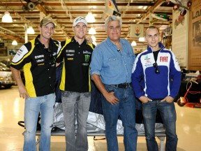 Yamaha's Edwards, Spies and Lorenzo visit Jay Leno's Garage