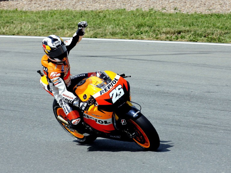 Dani Pedrosa celebrates GP win on track in Sachsenring