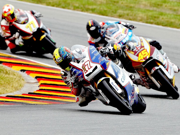 Karel Abraham riding ahead of Moto2 group in Sachsenring