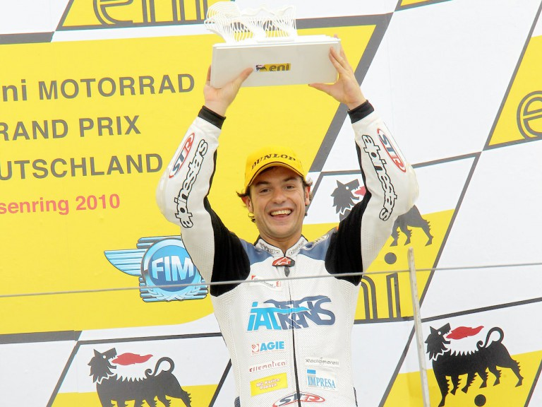 Roberto Rolfo on the podium in Sachsenring